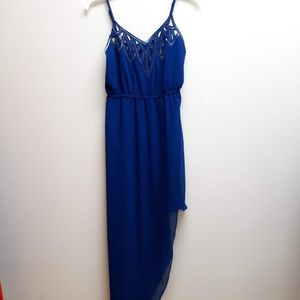 C'isa Blue Beaded High Low Flowy Dress Size Small